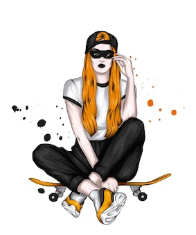Beautiful girl with long hair and skateboard