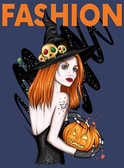 Beautiful girl with a pumpkin and in a stylish witch hat