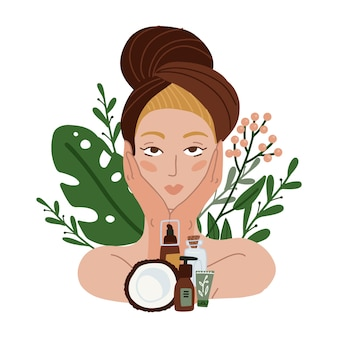 背景にタオルとココナッツの自然化粧品、植物、花を持つ美しい少女。フラットイラスト。