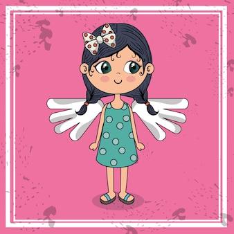 날개 귀여운 캐릭터와 함께 아름 다운 소녀