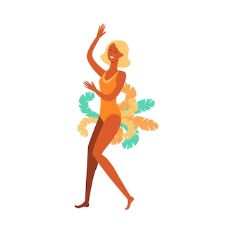 Beautiful girl or woman dancer of a brazilian carnival, festival or samba. brazilian girl or woman dancer at the carnival in a costume with feathers,   cartoon  illustration.
