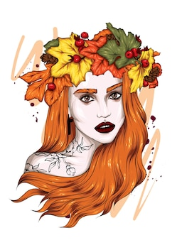 Beautiful girl in a wreath of autumn leaves