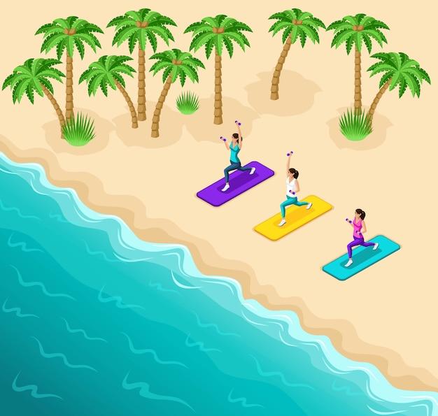 아름다운 소녀는 운동복, 체조, 바다 해변, 야자수에서 해변에서 피트니스에 종사하고 있습니다.