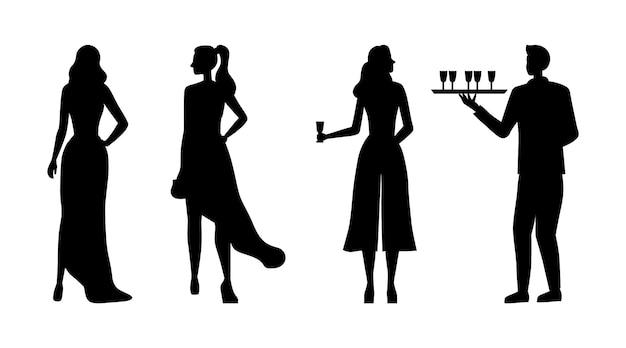 Силуэты красивых девушек в вечерних платьях на клубной вечеринке