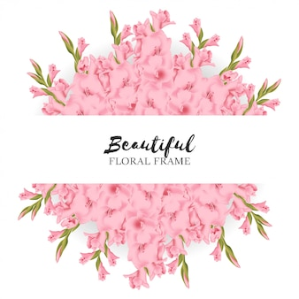 Beautiful gladiolus floral frame