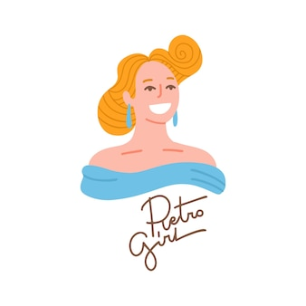 세련된 플랫 스타일의 손으로 그린 초상화 스타일의 금발 머리를 가진 아름다운 매력적인 젊은 여성 프리미엄 벡터