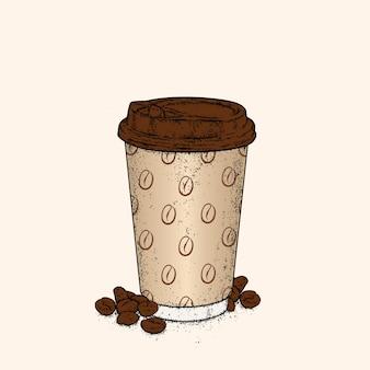 Красивый стакан с кофе. иллюстрация.