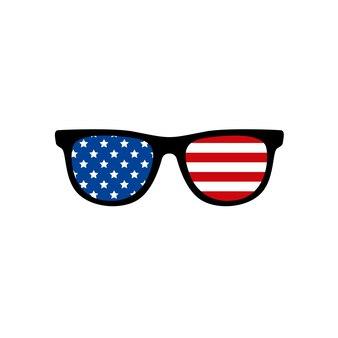 アメリカ国旗の美しいメガネ