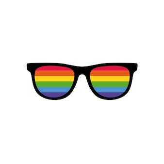 Lgbtプライドフラグ付きの美しいメガネ