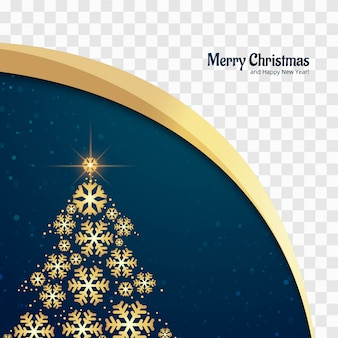 Beautiful glitters merry christmas tree card design vector