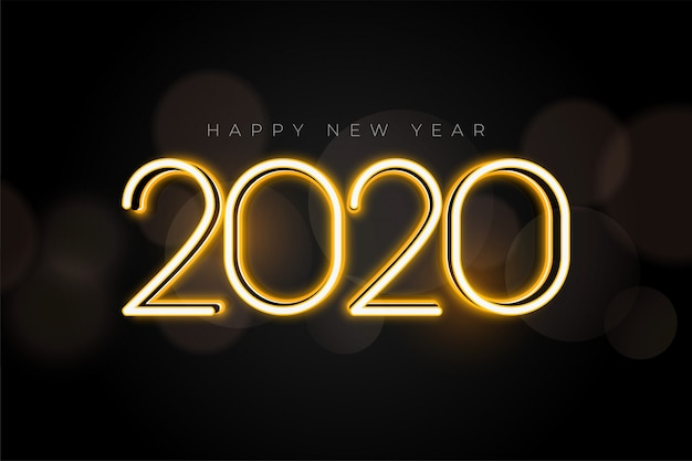 Beautiful glowing 2020 new year lights greeting card design