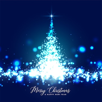 Beautiful glowing christmas tree sparkles card design