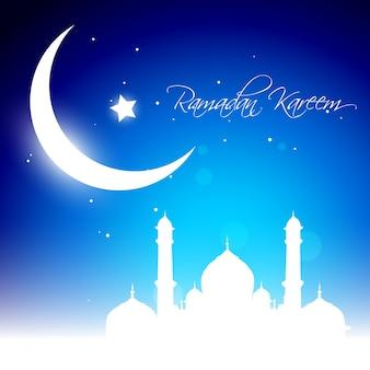 Beautiful glowing moon background for ramadan kareem