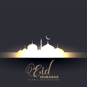 Beautiful glowing mosque eid mubarak