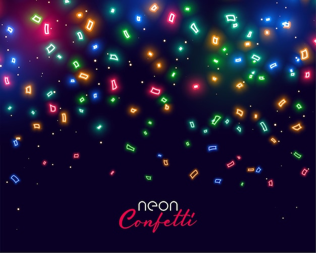 Beautiful glowing neon falling confetti