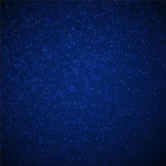 아름 다운 빛나는 눈 크리스마스 배경입니다. 짙은 푸른 밤 배경에 미묘한 날아다니는 눈 조각과 별. 매혹적인 겨울 은색 눈송이 오버레이 템플릿입니다. 멋진 벡터 일러스트 레이 션.