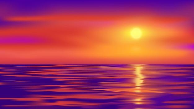 Красивый светящийся закат на фоне морской природы