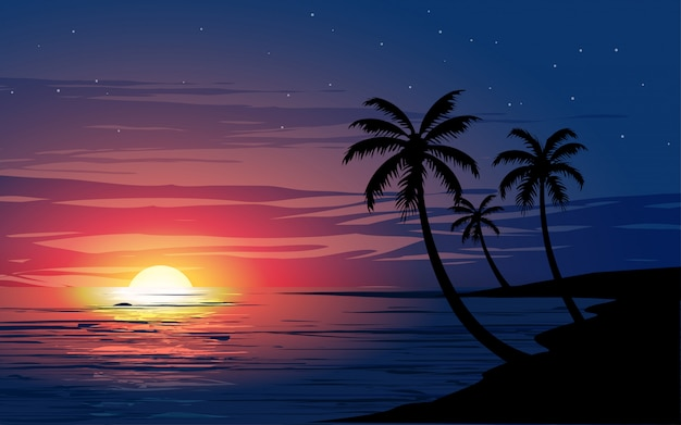 Красивый светящийся закат на тропическом пляже