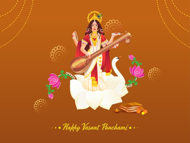 Beautiful goddess saraswati sculpture with holy books, flowers and lit oil lamp (diya) for happy vasant panchami.