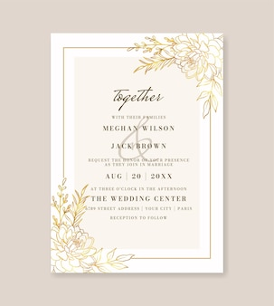 Beautiful gold floral wedding invitation