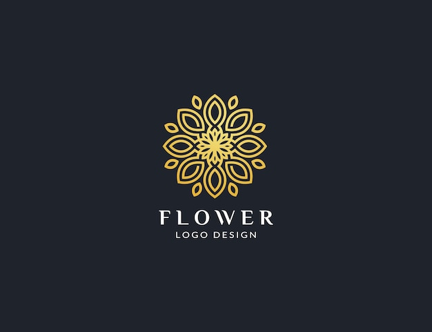 Beautiful gold flower logo design template