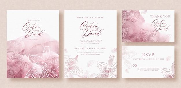 Beautiful gold flowers line art on wedding card template