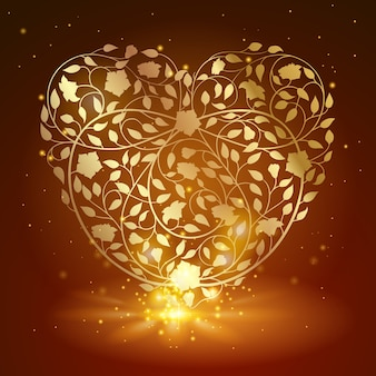 Beautiful gold love heart icon flower banner background