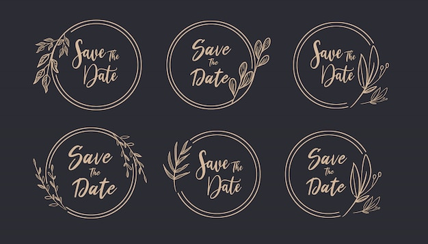 Beautiful gold save the date round floral frame foliage