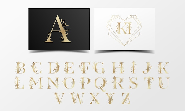 Beautiful golden alphabet collection