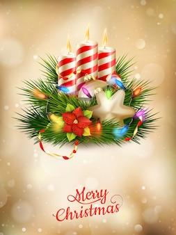 キャンドルと美しいゴールデンクリスマス背景。
