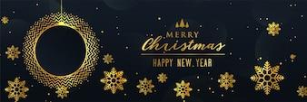 Beautiful golden christmas snowflakes banner design