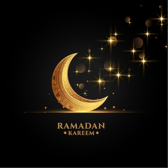 Beautiful golden eid moon ramadan kareem