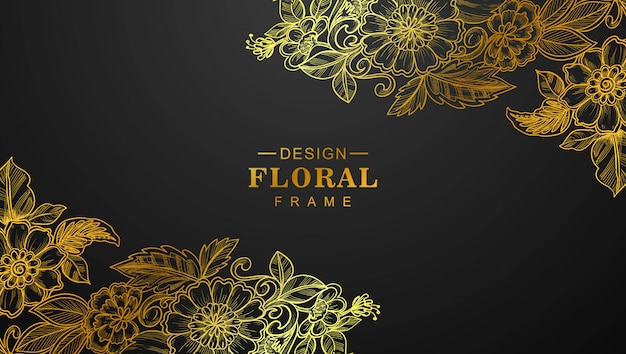 Beautiful golden floral frame with black background