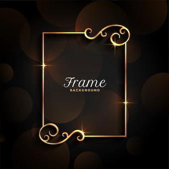 Beautiful golden floral invitation frame background