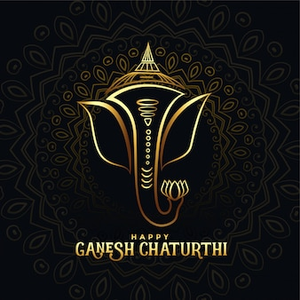 Beautiful golden ganpati card for happy ganesh chaturthi