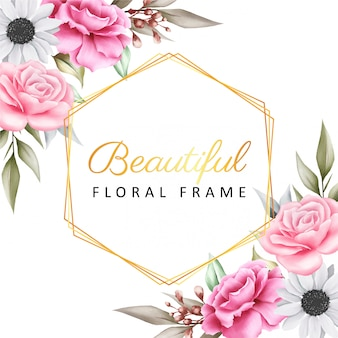 Beautiful golden geometric frame with floral decoration