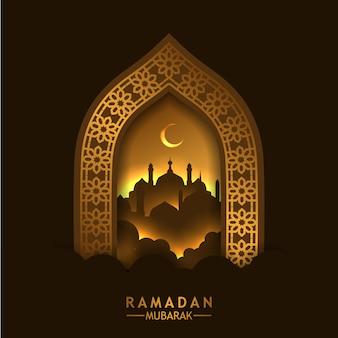 Красивая золотая дверь с геометрическим рисунком и силуэтом мечети