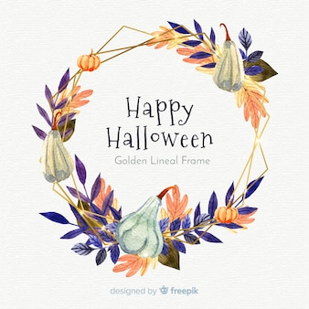 Beautiful golden lineal watercolor frame with halloween concept