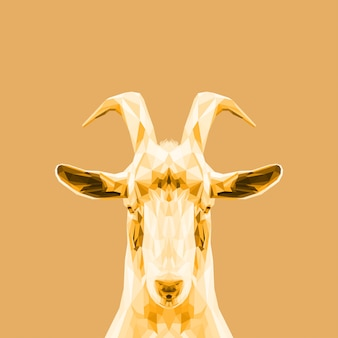 Beautiful golden low poly art goat