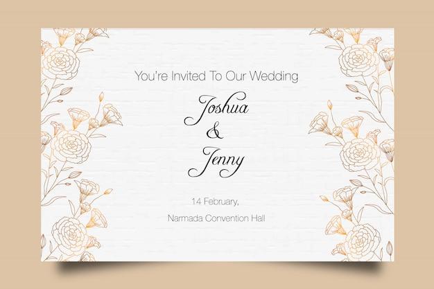 Beautiful golden luxury floral wedding invitation template