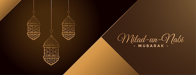 Beautiful golden milad un nabi lamps banner design