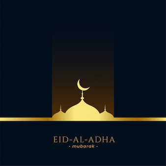 Beautiful golden mosque eid al adha greeting