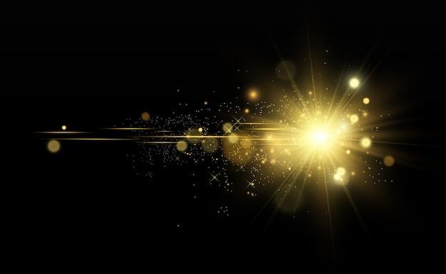 Красивый золотой звезды на полупрозрачном фоне с золотой пылью и блестками. великолепная световая основа для вашего дизайна.