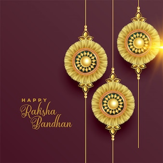 Beautiful golden rakhi background for raksha bandhan