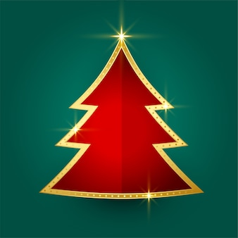 Beautiful golden shiny christmas tree greeting card