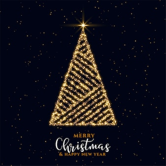 Beautiful golden sparkle christmas tree festival card design