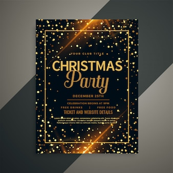 Beautiful golden sparkles christmas flyer template