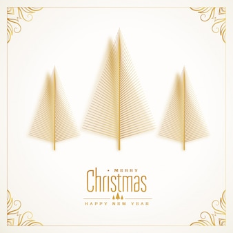 Beautiful golden tree merry christmas card