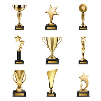 Beautiful golden trophy cups and awards of different shape realistic set isolated