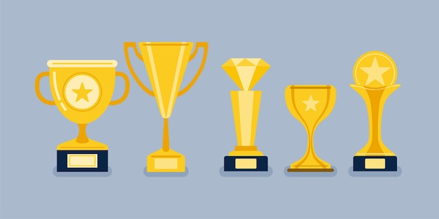 Beautiful golden trophy cups and awards of different shape realistic set